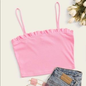 Zara Rubbed pink tank top with ruffled neckline